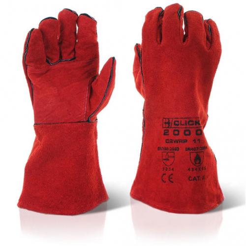Click Red Welding Gauntlet Gloves